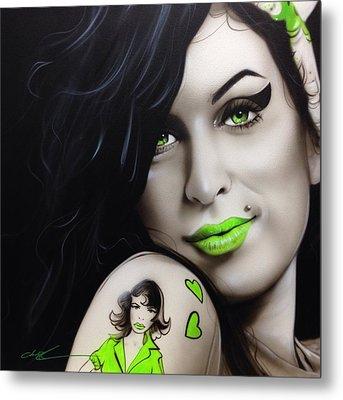 Amy Winehouse - ' Amy Jade ' Metal Print by Christian Chapman Art
