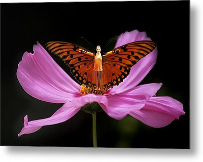 Metal Print featuring the photograph Amy The Butterfly by Susan Rovira