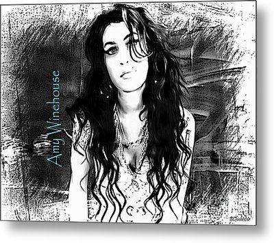 Amy Winehouse Metal Print by Barbara Chichester