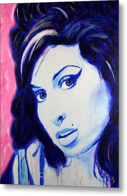 Metal Print featuring the painting Amy Winehouse Pop Art Painting by Bob Baker