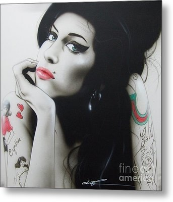 Amy Winehouse - ' Amy Your Music Will Echo Forever ' Metal Print by Christian Chapman Art