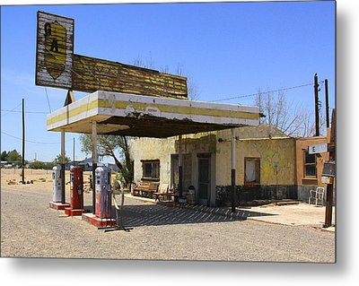 An Abandon Gas Station On Route 66 Metal Print by Mike McGlothlen
