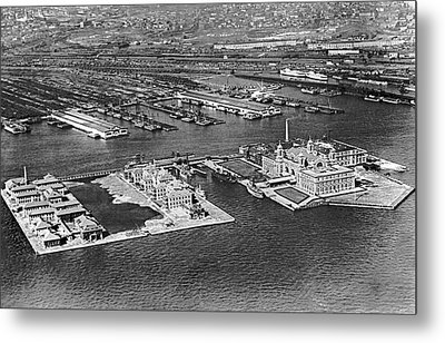 An Aerial View Of Ellis Island Metal Print by Underwood Archives