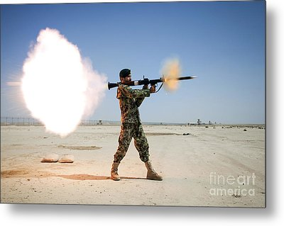 An Afghan National Army Soldier Fires Metal Print by Stocktrek Images