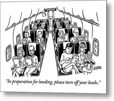An Airplane Is Seen Full Of Passengers Holding Metal Print