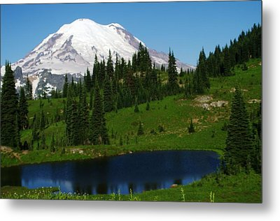 An Alpine Lake Foreground Mt Rainer Metal Print by Jeff Swan