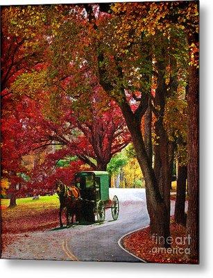 An Amish Autumn Ride Metal Print by Lianne Schneider