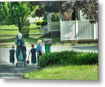 Little Amish Gardeners Metal Print