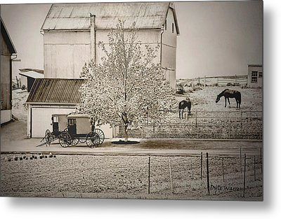 Metal Print featuring the photograph An Amish Farm In Sepia by Dyle   Warren