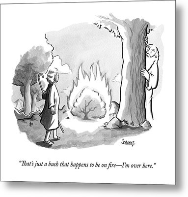 An Angel Speaks To Moses From Behind A Tree Metal Print by Benjamin Schwartz
