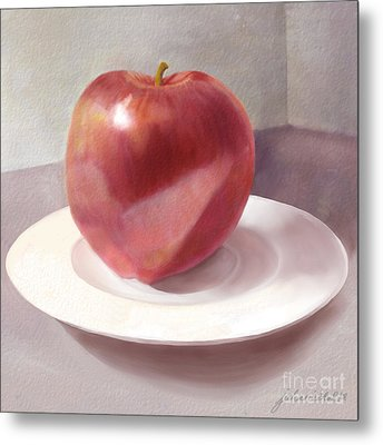 An Apple For Sue Metal Print by Joan A Hamilton