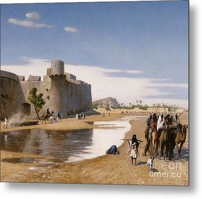 An Arab Caravan Outside A Fortified Town Metal Print by Jean Leon Gerome