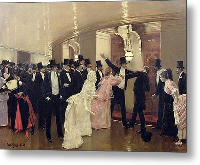 An Argument In The Corridors Of The Opera Metal Print by Jean Beraud
