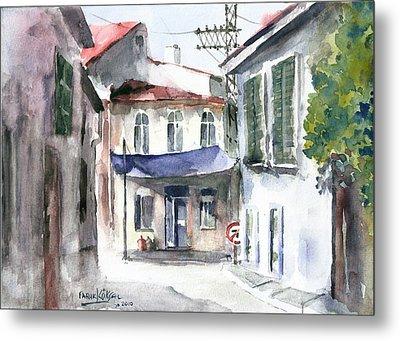 An Authentic Street In Urla - Izmir Metal Print