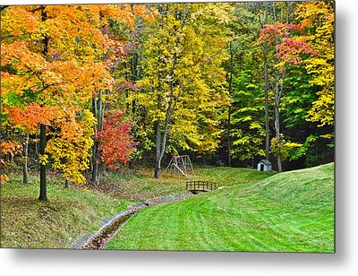 An Autumn Childhood Metal Print by Frozen in Time Fine Art Photography