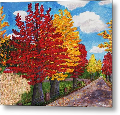 Metal Print featuring the painting An Autumn Drive by Cynthia Morgan