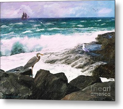 Metal Print featuring the digital art An Egret's View Seascape by Lianne Schneider