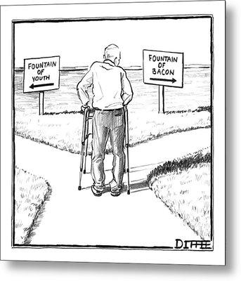 An Elderly Man Is Seen Standing Next To Two Arrow Metal Print