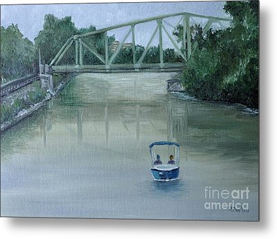 An Evening  Boat Ride On Lachine Canal Metal Print by Reb Frost