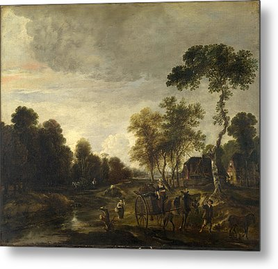 An Evening Landscape With A Horse And Cart By A Stream Metal Print by Aert van der Neer