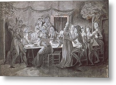 An Evening Wedding Meal Pen & Ink And Gouache On Paper Metal Print