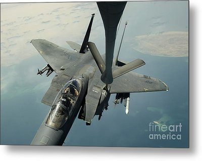 An F-15e Strike Eagle Receives Fuel Metal Print by Stocktrek Images