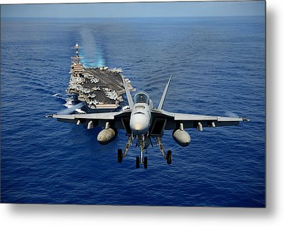 An F/a-18 Hornet Demonstrates Air Power. Metal Print by Sebastian Musial
