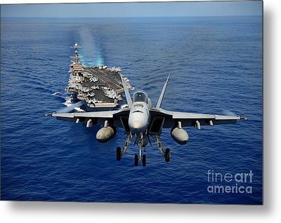 Metal Print featuring the photograph An Fa-18 Hornet Demonstrates Air Power. by Paul Fearn