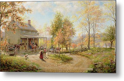 An October Day Metal Print by Edward Lamson Henry