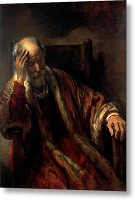An Old Man In An Armchair Metal Print by Rembrandt Harmensz van Rijn