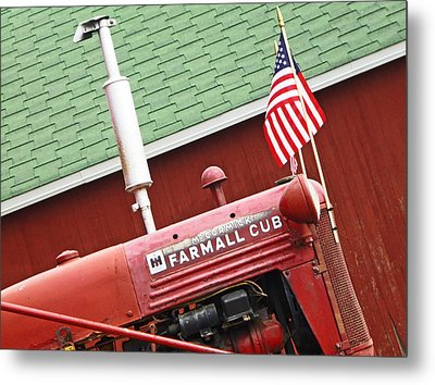 An Old Red Tractor Metal Print by Michael Allen