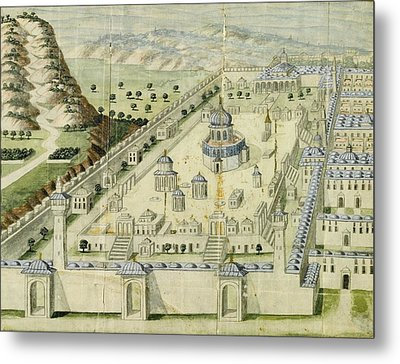 An Ottoman Illustration Of The Al-aqsa Mosque In Jerusalem Metal Print
