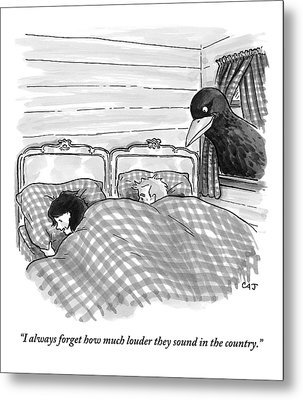 An Overly Large Bird Peers Into The Bedroom Metal Print