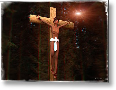 Anaglyph Martyr In The Forest Metal Print by Ramon Martinez