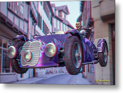 Anaglyph Old Car  Metal Print by Ramon Martinez