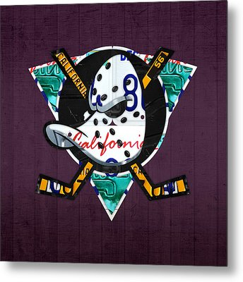 Anaheim Ducks Hockey Team Retro Logo Vintage Recycled California License Plate Art Metal Print