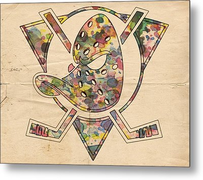 Anaheim Ducks Retro Poster Metal Print