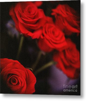 Analog Photo Of Bunch Bouquet Of Red Roses Metal Print by Edward Olive