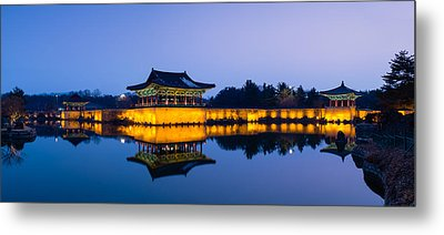 Anapji Pond At Dusk Metal Print