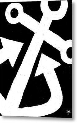 Anchor-black Metal Print by Catherine Peters