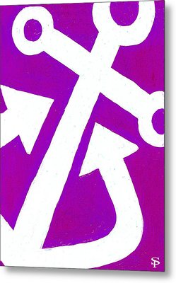 Anchor-magenta Metal Print by Catherine Peters