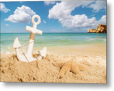 Anchor On The Beach Metal Print