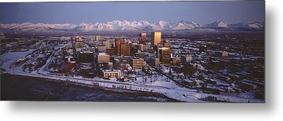 Anchorage At The Base Of Chugach Mtns Metal Print by Panoramic Images