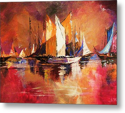 Anchored At Sunset Metal Print