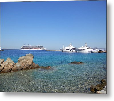 Anchored Ships Metal Print