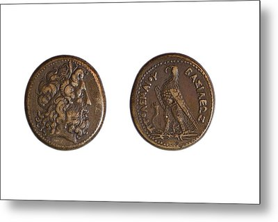 Ancient Bronze Coin Metal Print by Science Photo Library