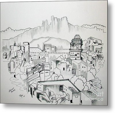 Metal Print featuring the drawing Ancient City In Pen And Ink by Janice Rae Pariza