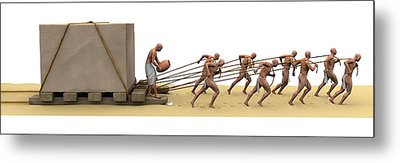 Ancient Egyptians Moving Stone Metal Print