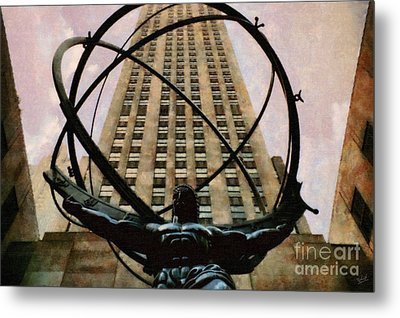 Ancient Greek Titan Atlas Holding The Heavens Metal Print by Nishanth Gopinathan
