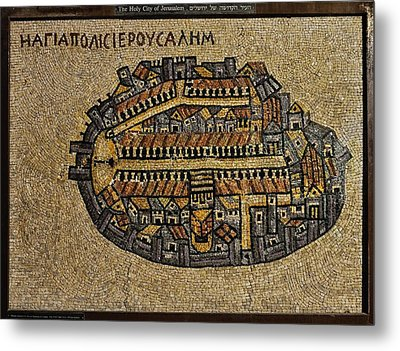 Ancient Jerusalem Mosaic Map Color Framed Metal Print by Mark Fuller